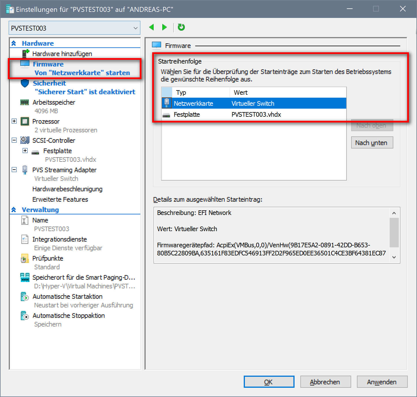 Citrix Provisioning Services Zielsysteme in Hyper-V VMs ohne